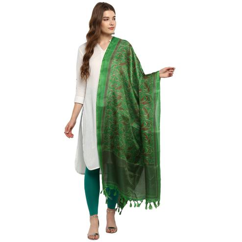 Adorning Green Colored Casual Printed Khadi Silk Dupatta