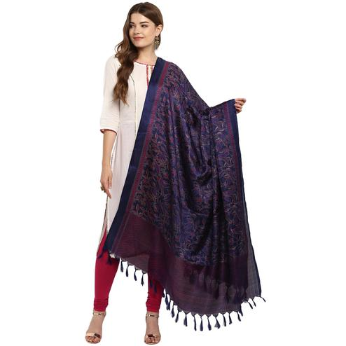Prominent Navy Blue Colored Casual Printed Khadi Silk Dupatta