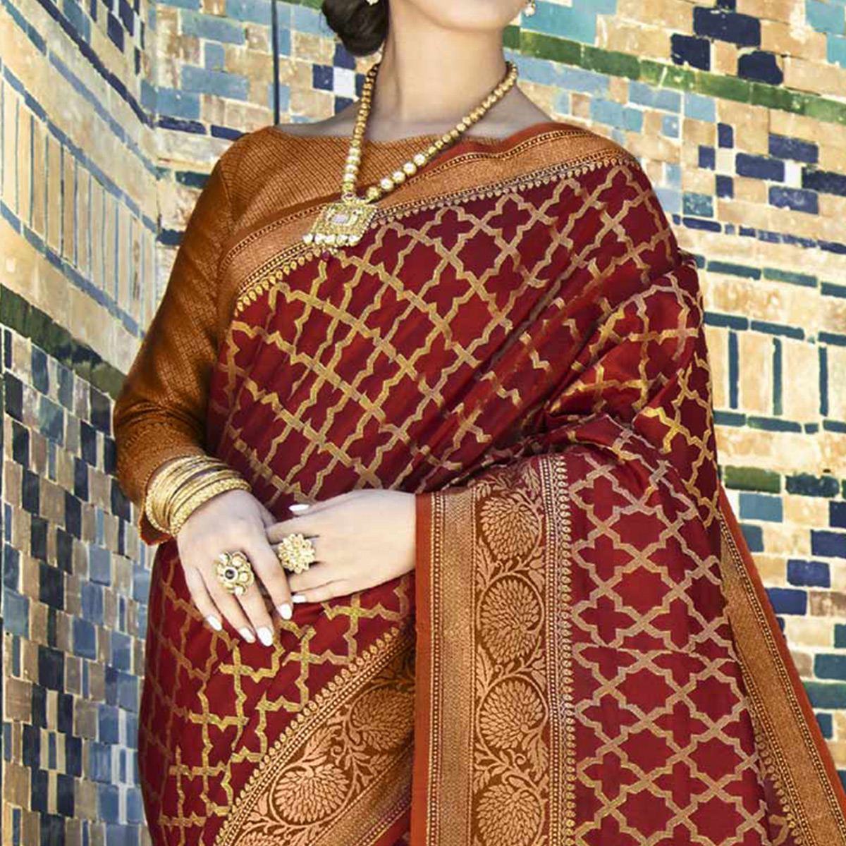 Impressive Maroon Colored Festive Wear Woven Silk Saree