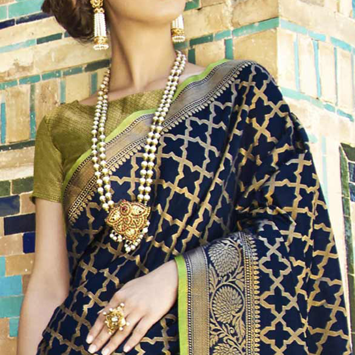 Eye-Catching Navy Blue Colored Festive Wear Woven Silk Saree