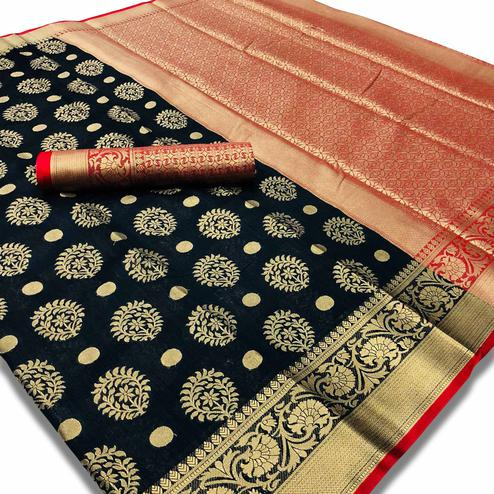 Adorning Black Colored Festive Wear Woven Silk Saree