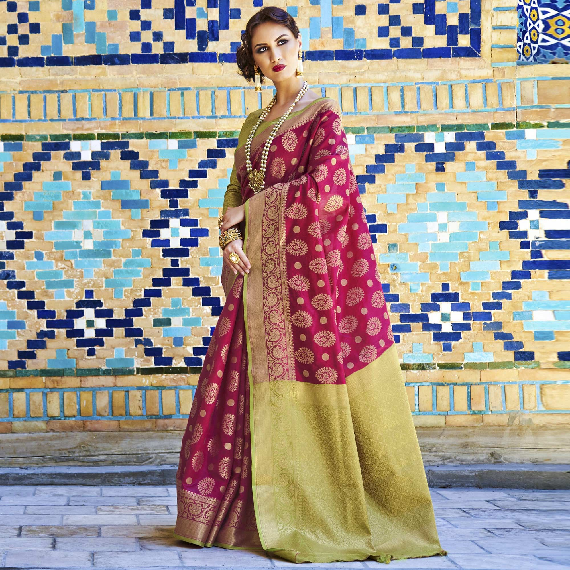 Appealing Dark Pink Colored Festive Wear Woven Silk Saree