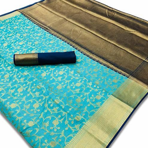 Innovative Sky Blue Colored Festive Wear Woven Silk Saree