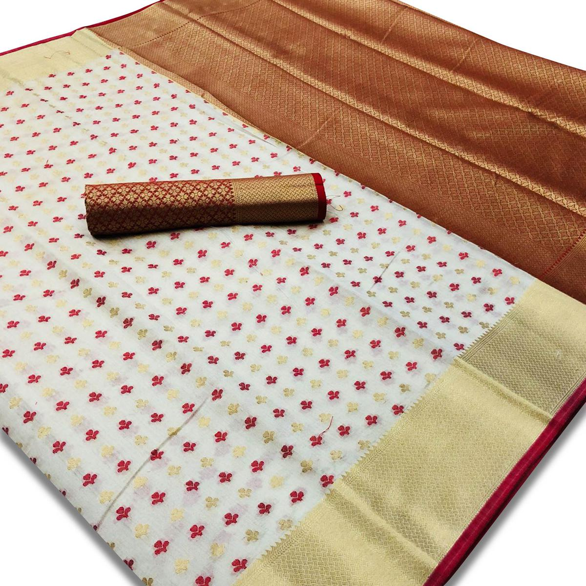 Pleasant White Colored Festive Wear Woven Silk Saree