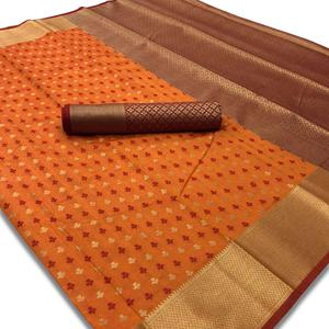Demanding Orange Colored Festive Wear Woven Silk Saree