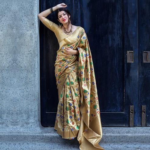 Jazzy Beige Colored Festive Wear Banarasi Silk Saree