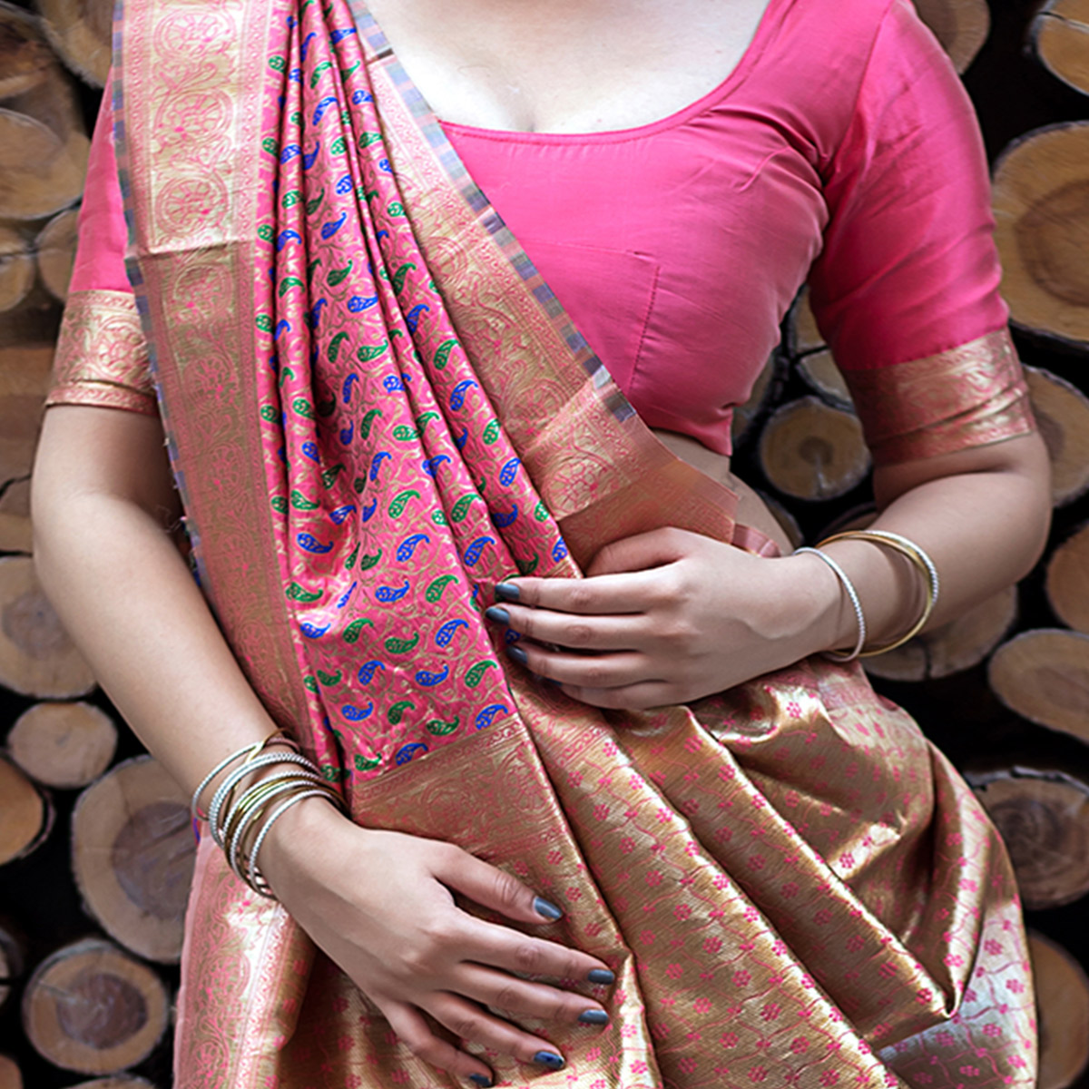 Groovy Pink Colored Festive Wear Banarasi Silk Saree