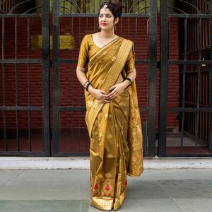 Desirable Golden Colored Festive Wear Banarasi Silk Saree