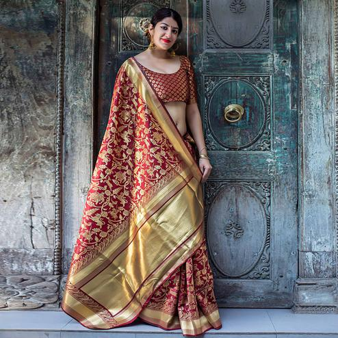Demanding Maroon Colored Festive Wear Banarasi Silk Saree