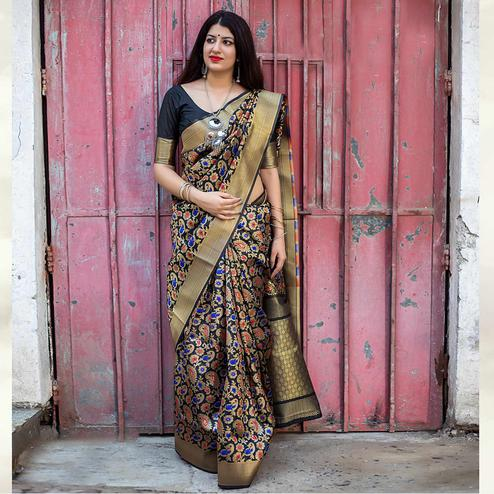 Unique Black Colored Festive Wear Banarasi Silk Saree