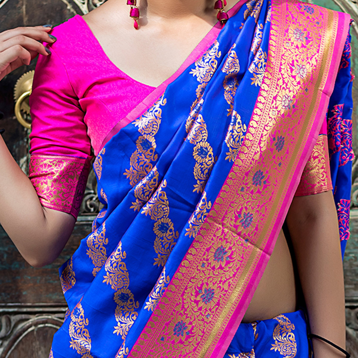 Refreshing Blue Colored Festive Wear Banarasi Silk Saree