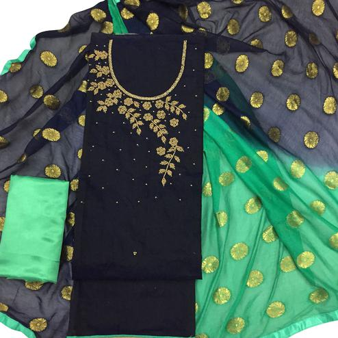Amazing Black Colored Party Wear Embroidered Modal Dress Material