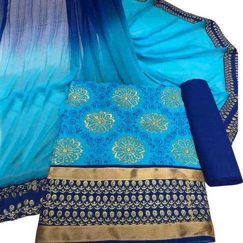Graceful Sky Blue Colored Party Wear Embroidered Cotton Dress Material