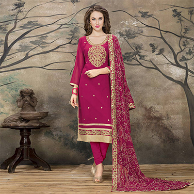 Beautiful Pink Designer Embroidered Faux Georgette Salwar Suit