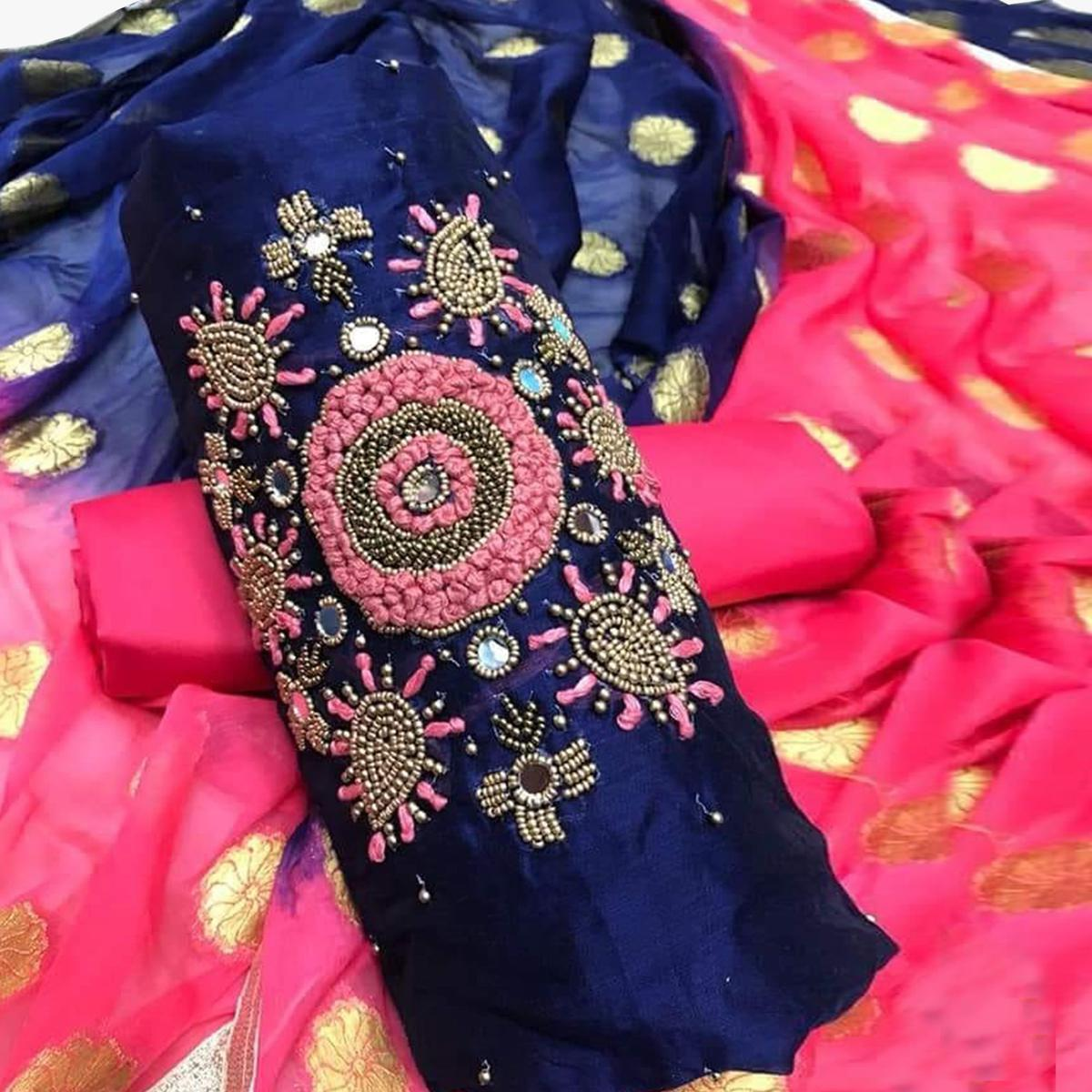 Stunning Navy Blue Colored Party Wear Embroidered Modal Dress Material