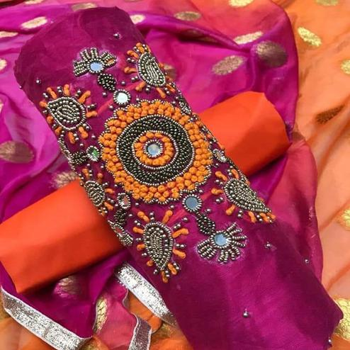 Mesmerising Pink Colored Party Wear Embroidered Modal Dress Material