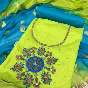 Soulful Green Colored Party Wear Embroidered Modal Dress Material