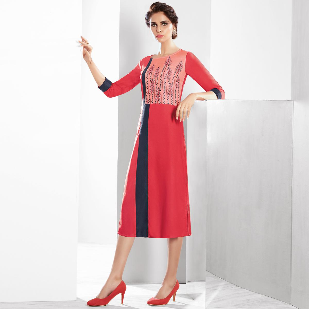 Unique Red Colored Casual Embroidered Pure Viscose Kurti