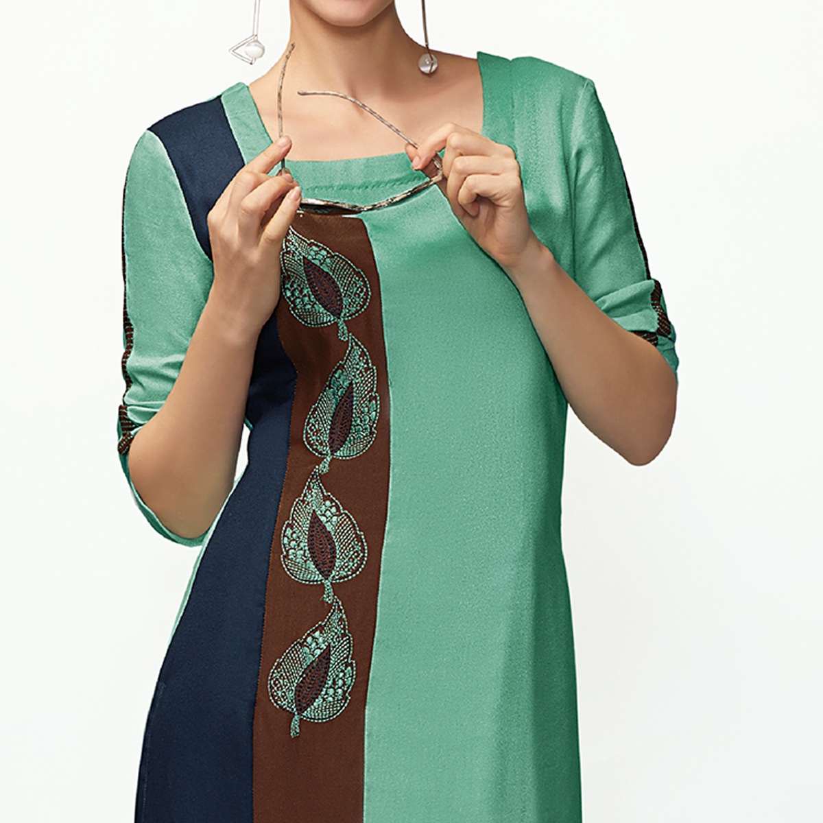 Classy Turquoise Green Colored Casual Embroidered Pure Viscose Kurti