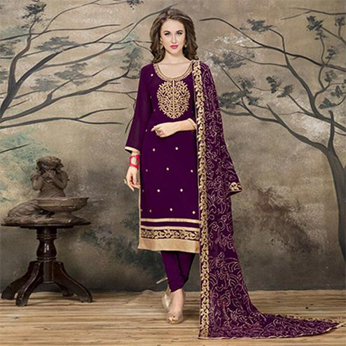 Prestigious Purple Designer Embroidered Faux Georgette Salwar Suit