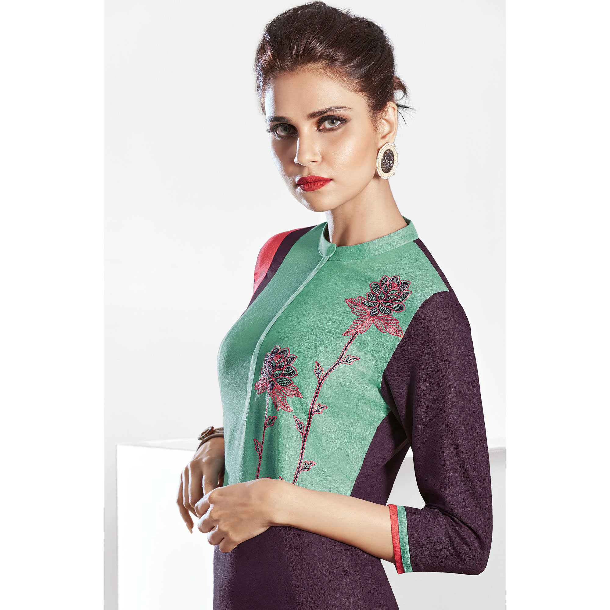 Deserving Wine Colored Casual Embroidered Pure Viscose Kurti