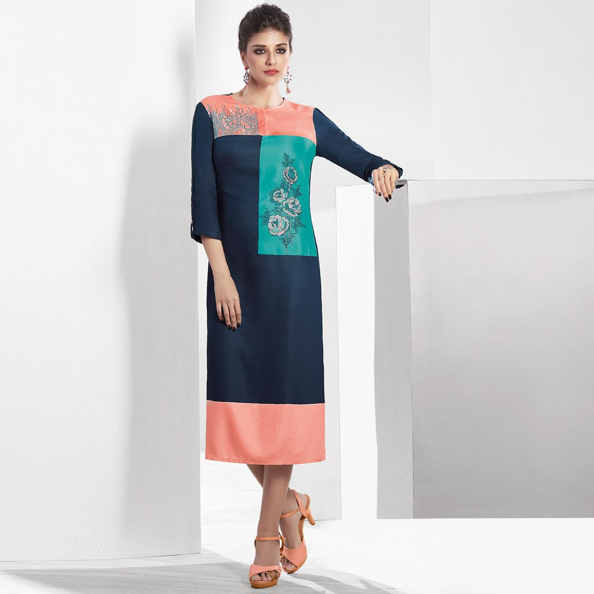 Majesty Stone Blue Colored Casual Embroidered Pure Viscose Kurti