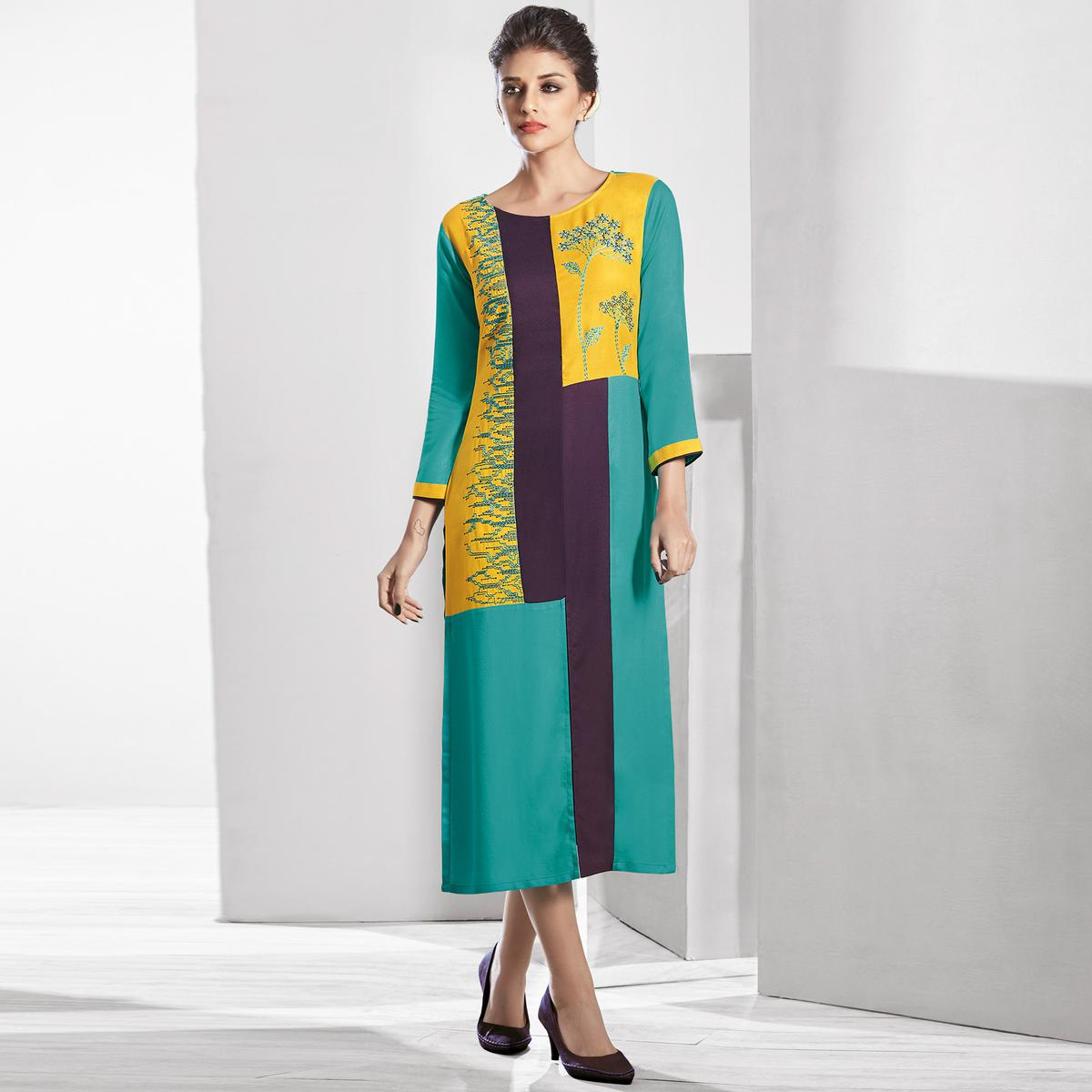 Impressive Turquoise Green-Yellow Colored Casual Embroidered Pure Viscose Kurti