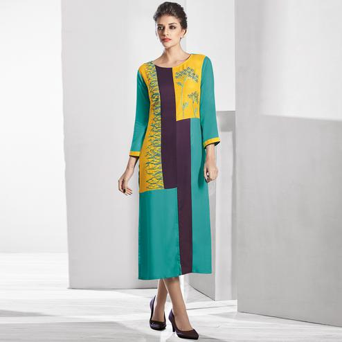 Impressive Turquoise Green-Yellow Colored Casual Embroidered Georgette Kurti