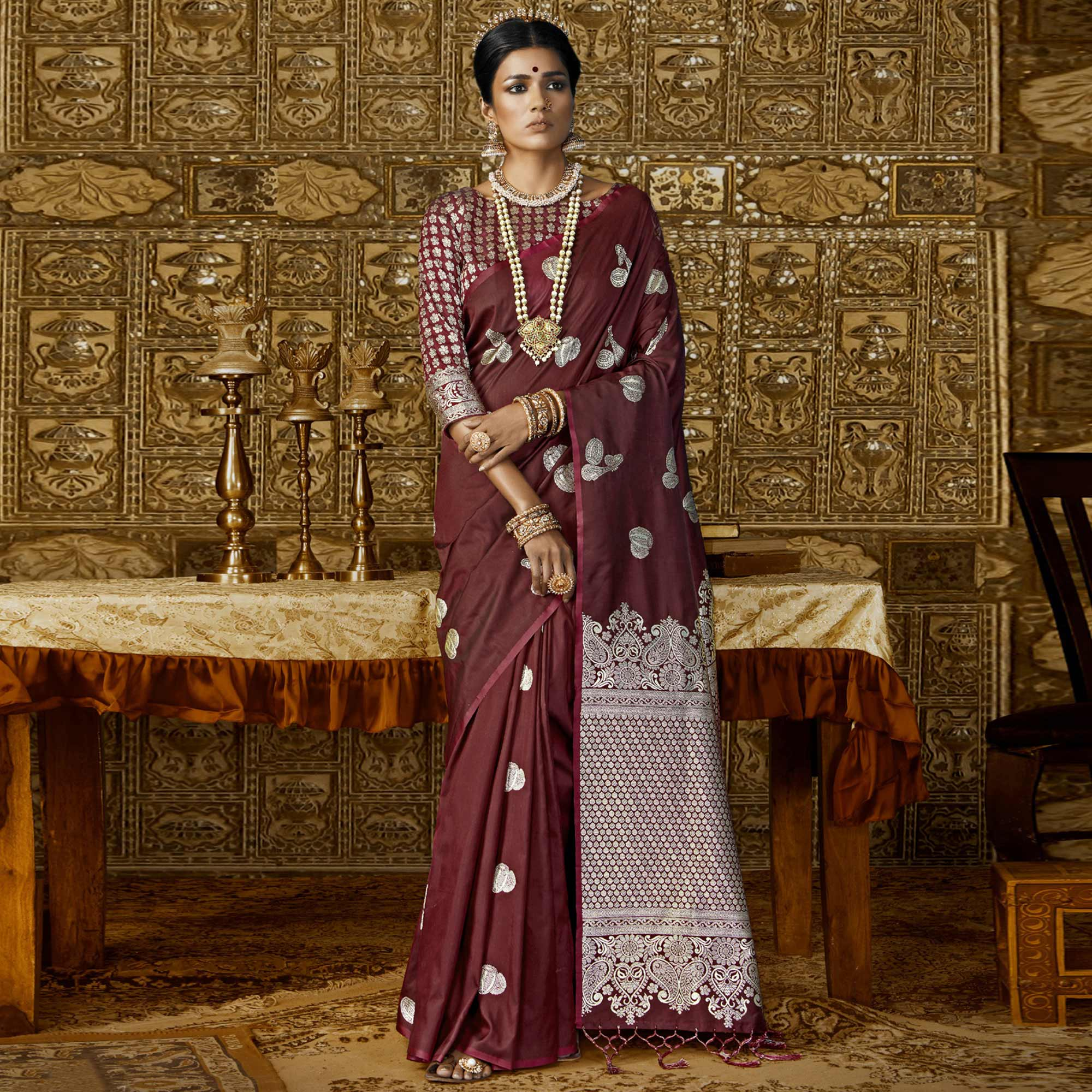 Exceptional Maroon Colored Festive Wear Woven Silk Saree
