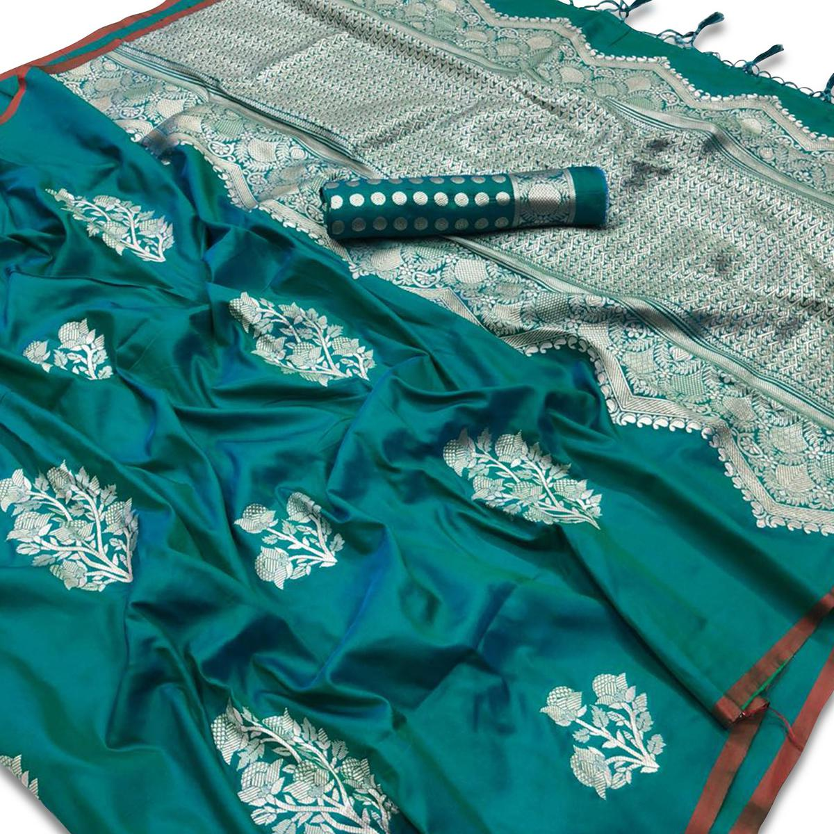 Refreshing Teal Green Colored Festive Wear Woven Silk Saree