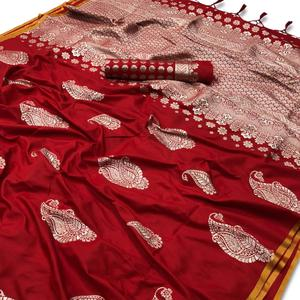 Glowing Red Colored Festive Wear Woven Silk Saree