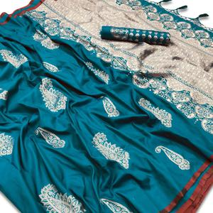Unique Light Blue Colored Festive Wear Woven Silk Saree