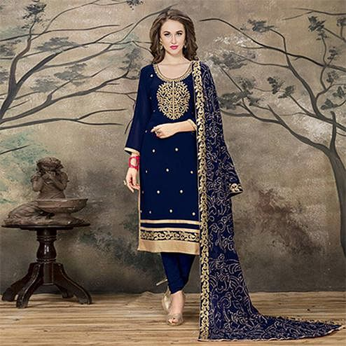 Attractive Blue Designer Embroidered Faux Georgette Salwar Suit