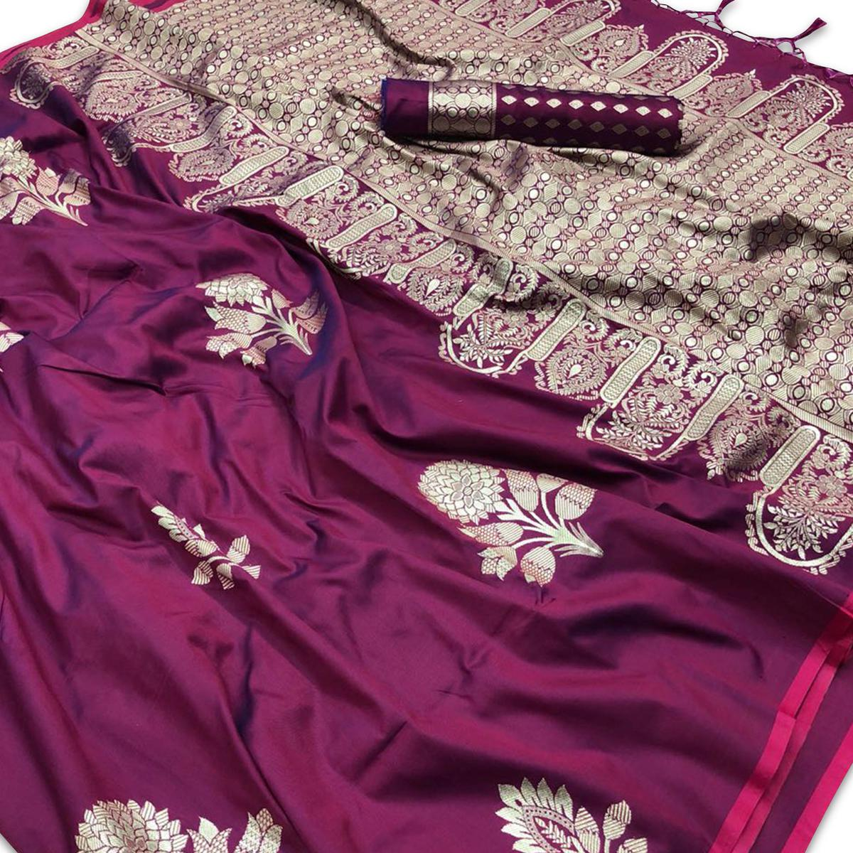 Excellent Purple Colored Festive Wear Woven Silk Saree
