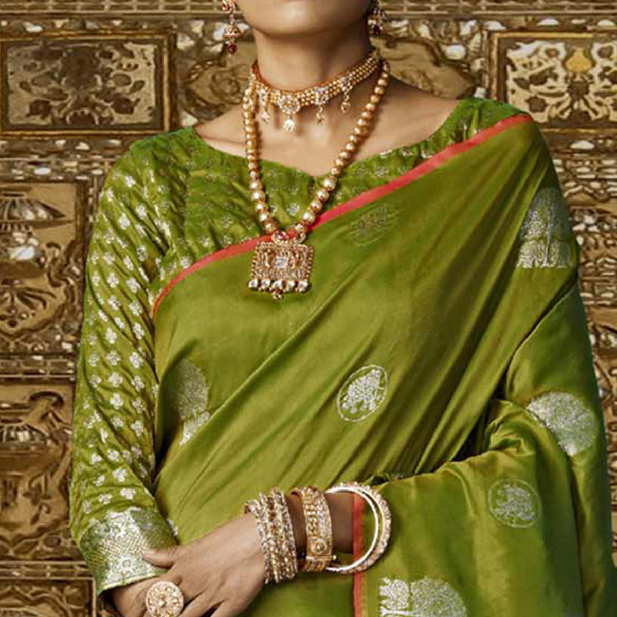 Impressive Green Colored Festive Wear Woven Silk Saree