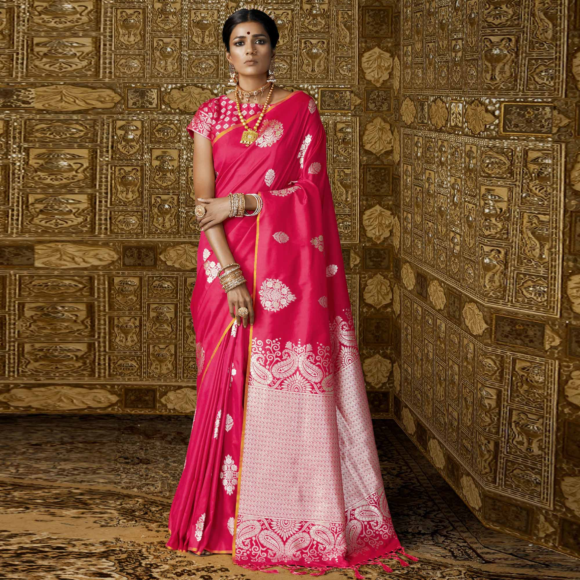 Blooming Pink Colored Festive Wear Woven Silk Saree