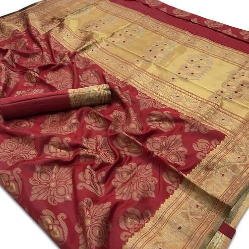 Elegant Maroon Colored Festive Wear Woven Silk Saree