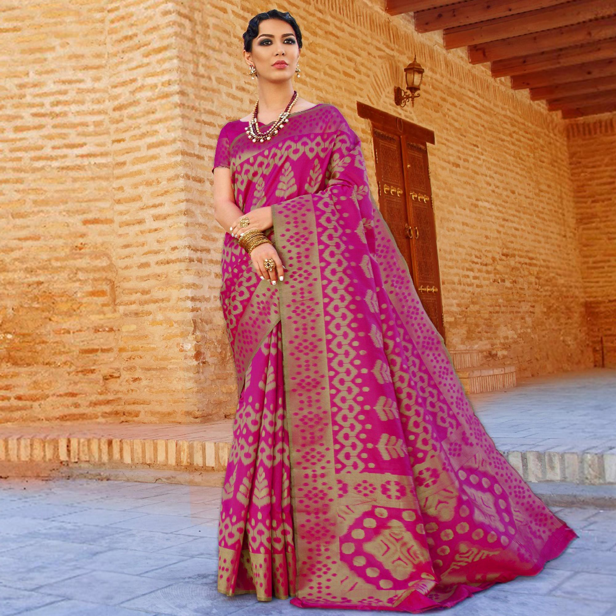 Charming Pink Colored Festive Wear Woven Silk Saree