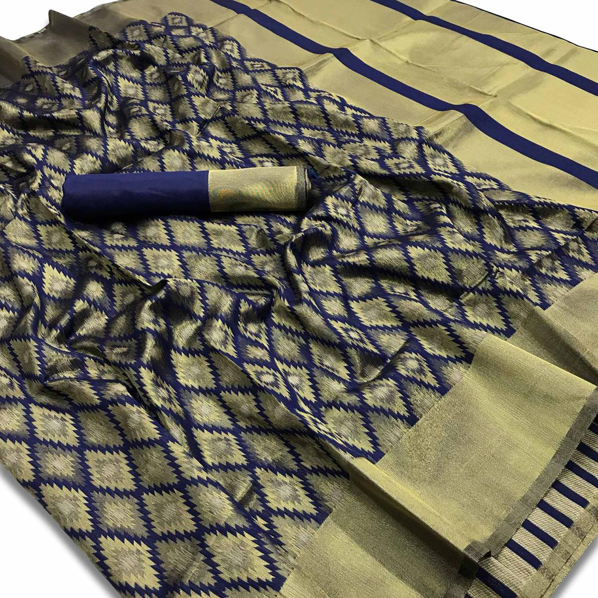 Attractive Navy Blue-Beige Colored Festive Wear Woven Silk Saree