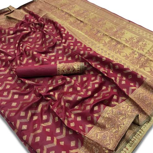 Traditional Maroon Colored Festive Wear Woven Silk Saree