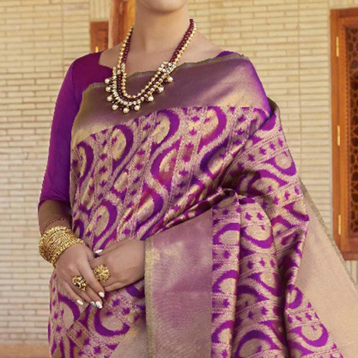 Perfect Purple Colored Festive Wear Woven Silk Saree
