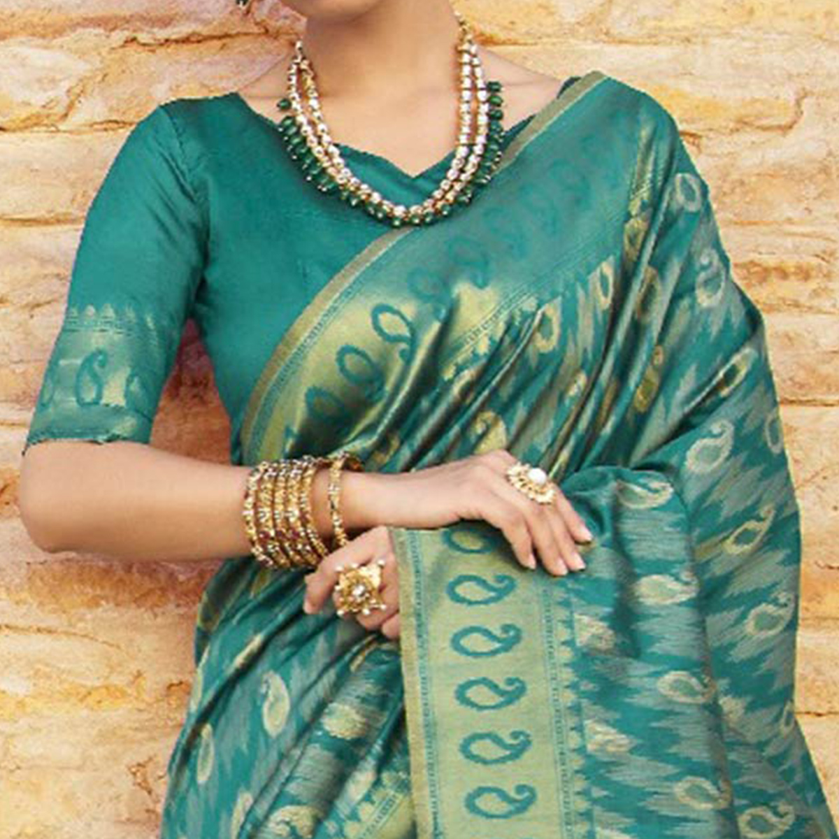 Glowing Teal Green Colored Festive Wear Woven Silk Saree