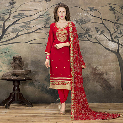 Sizzling Red Designer Embroidered Faux Georgette Salwar Suit