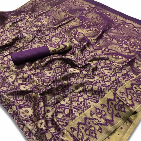 Amazing Dark Purple Colored Festive Wear Woven Silk Saree