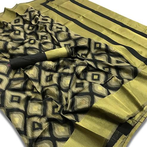 Mesmeric Black-Golden Colored Festive Wear Woven Silk Saree
