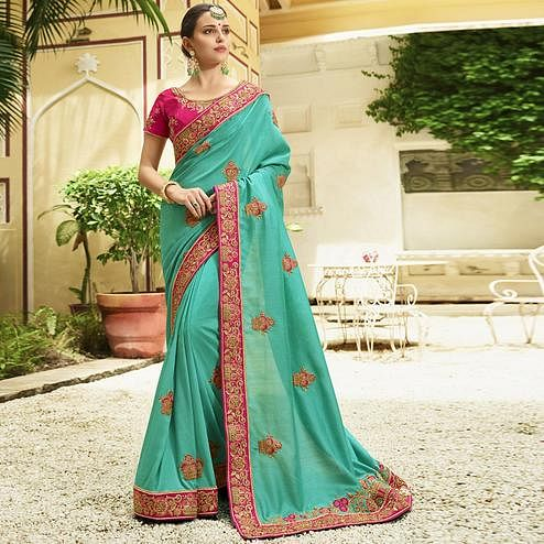 Blooming Aqua Blue Colored Party Wear Embroidered Silk Saree
