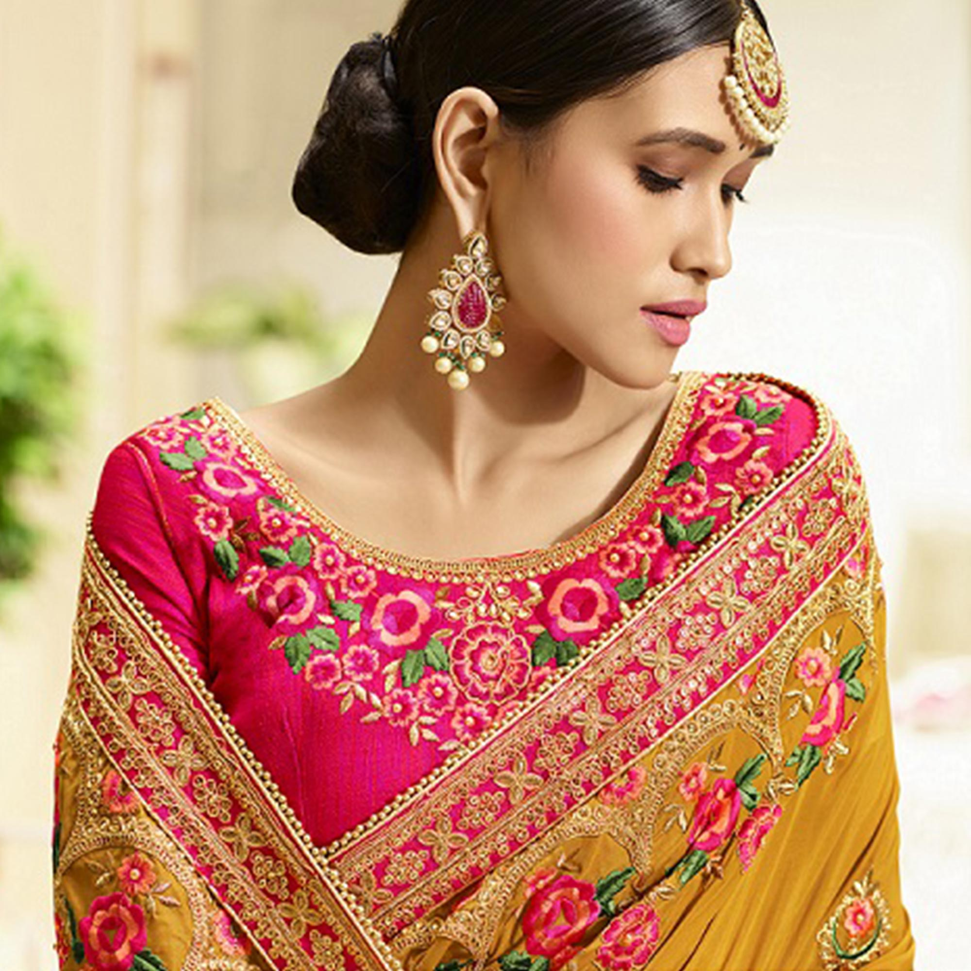 Marvellous Mustard Yellow Colored Party Wear Embroidered Silk Saree