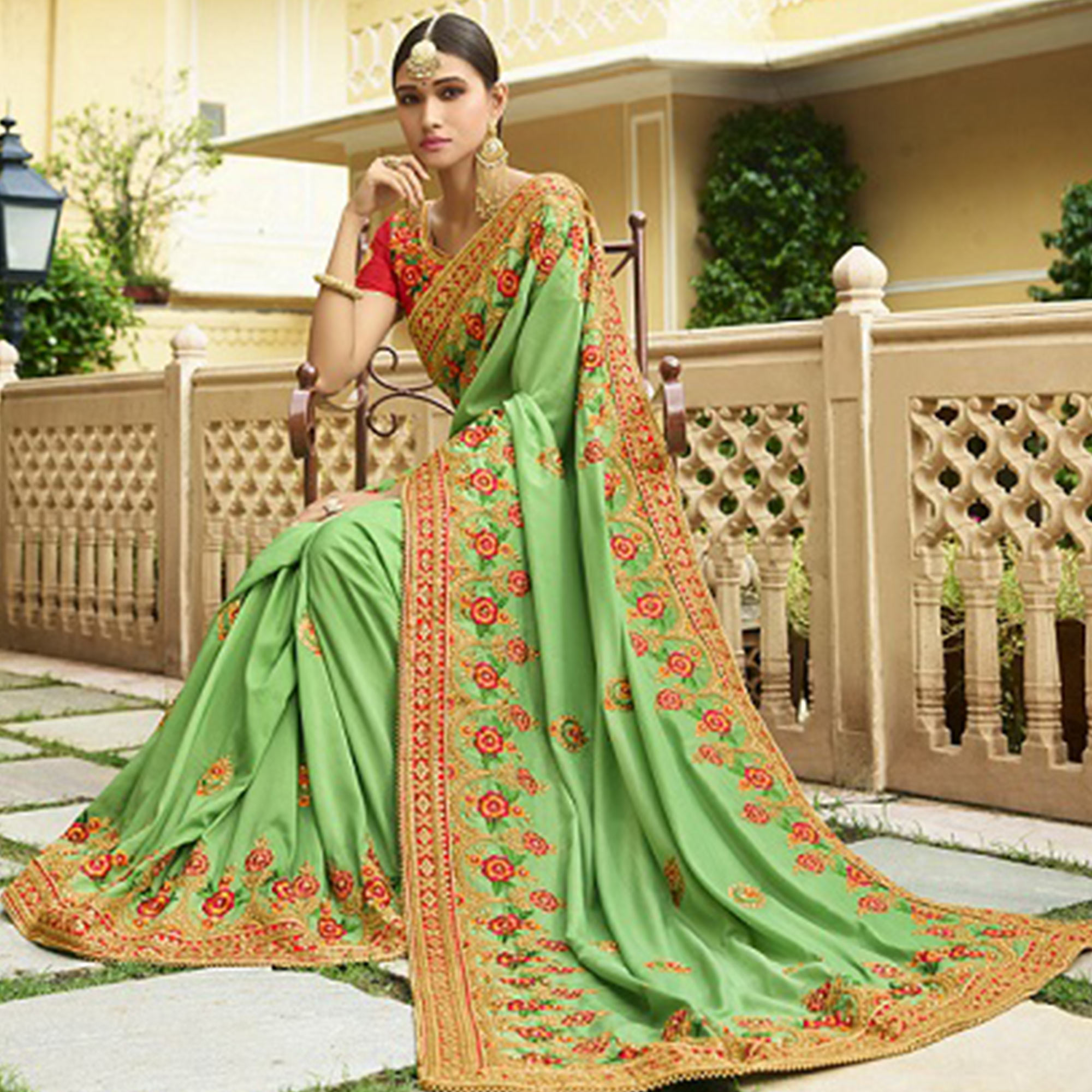 Mesmerising Pale Green Colored Party Wear Embroidered Silk Saree