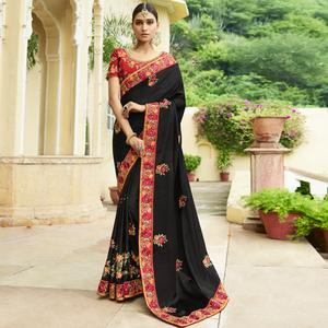 Ravishing Black Colored Party Wear Embroidered Silk Saree
