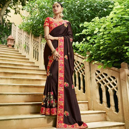Elegant Dark Brown Colored Party Wear Embroidered Silk Saree